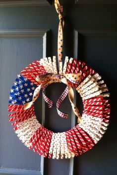 Fourth of July clothes pin wreath. This was so much fun to make and so easy!!!  I loved it so much that I gave it to a friend as a gift.