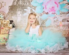 Audrey layered flower girl tutu dress in Tiffany blue by FabTutus, $125.00