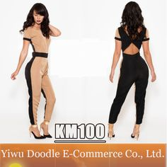 Hot  2014 women Summer Sexy Long Patchwork V backless Ankle -Length celeb dress Jumpersuit prom evening club wear party dresses $14.99