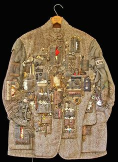 (Treasure) Hunting JacketDiane Savona. Wonderful deconstructed and multi-media clothes as art. http://www.flickr.com/photos/dianesavona/4093487875/