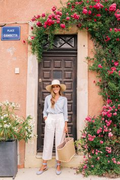 Gal Meets Glam Provence House - Joie top, Club Monaco pants, Margaux x MDS Stripes espadrilles, Cuyana hat & market bag bought in France