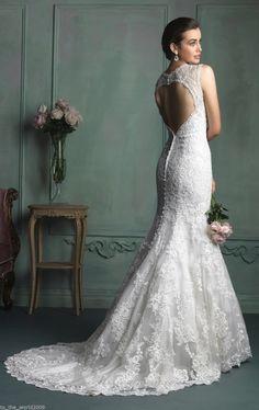 New Sexy V Neck Mermaid White Ivory Lace Wedding Dress Custom All Size 4 6 8