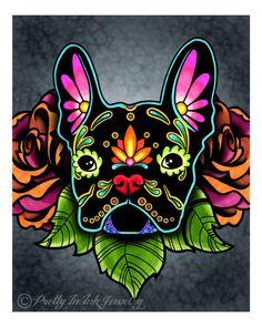 Day of the Dead Black French Bulldog Sugar Skull Dog Art Print - 8 x 10 - Prints for Pits Rescue Donation by PrettyInInkJewelry on Etsy https://www.etsy.com/listing/183756208/day-of-the-dead-black-french-bulldog