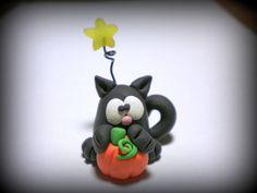 Halloween Black Cat with Pumpkin under a Star polymer clay