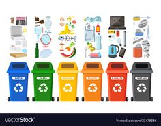 Rubbish bins for recycling different types of vector image on VectorStock Recycling Activities For Kids, Toddler Learning Activities, Recycling Bins, Educational Activities, Preschool Classroom Decor, Kindergarten Art, Classroom Design, Earth Day Activities, Time Activities