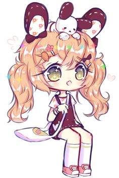 Art trade with Elissya-chan Hope you like it! Also, I drew her bunny on her head and not in her bag, I hope it's ok ///u\\\ oc Elissya-chan&. [AT] Elissya-chan Anime Kawaii, Kawaii Chibi, Cute Chibi, Kawaii Cute, Kawaii Girl, Anime Chibi, Manga Anime, Anime Art, Kawaii Stuff