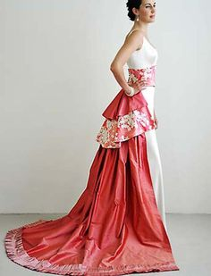 Modern Japanese Gown with Obi and Additional Fabrics