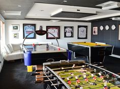 Games room with pool table, table football and air hockey for endless entertainment.