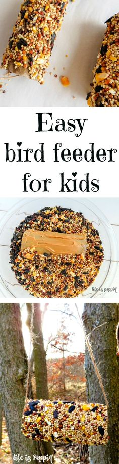 This easy peanut butter bird feeder is an inexpensive way to make some memories with your kids while enticing a few beautiful birds to come for a visit. Plus, you're making some pretty great memories with some pretty great people.