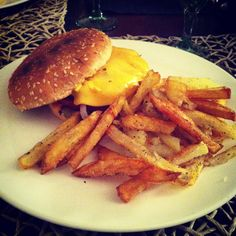 Home made Burger and Potatoes