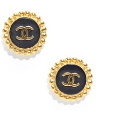Pre-Owned Chanel Vintage CC Gold Clip On Earrings found on Polyvore