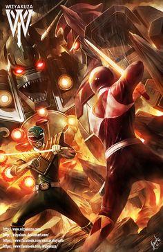 Green Ranger vs. Red Ranger Dragonzord vs. Megazord  by Wizyakuza