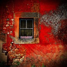 Colours of Roussillon, France. - - Colours of Roussillon, France. Old Windows, Windows And Doors, Exterior Windows, Red Tiles, Through The Window, Old Doors, Belle Photo, Stairways, Portal