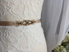 Delicate Champagne Gold Skinny Satin Vintage Inspired Crystal Jewel Embellished Ribbon Bridesmaids Sash, Bridal Belt by BlushingBridalShop on Etsy www.etsy.com/shop/blushingbridalshop