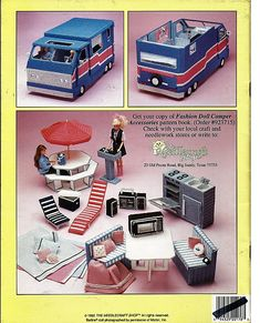 Reserved for Manuela: Fashion Doll Dream Camper and Fashion Doll Camper Accessories Two Plastic Canvas Books. $35.00, via Etsy.