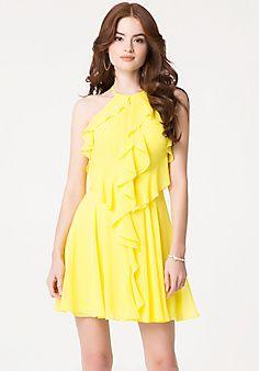 Ruffle+Georgette+Dress I love yellow dresses