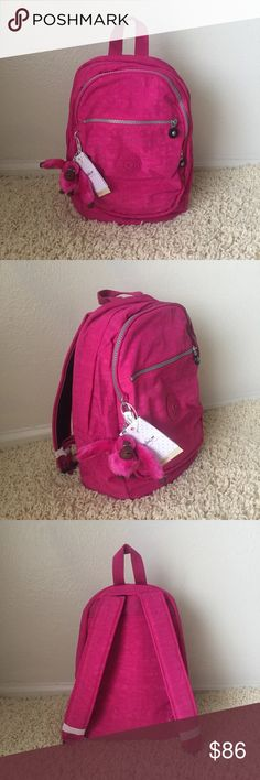 """Kipling Challenger II Small Backpack - Very Berry Kipling Challenger II Small Backpack - Very Berry  Size: Small Color: Very Berry Material: Coated Nylon Lining: Polyester Dimension: 10.25""""L x 14.25""""H x 8.25""""D  Weight: 1.03 lbs Volume: 16L Closure: Zipper Others: Zipped main compartment with padded back panel and base; Front zipped pocket features an open pouch pocket, pen loop and key clasp; Additional external zipped pocket on front; Adjustable padded shoulder straps and top grip carry…"""