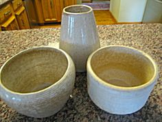 Vintage Zanesville Stoneware Co. vase/planter trio for sale at More Than McCoy on TIAS!