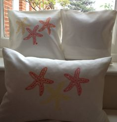 Star fish embroidered cover approx 13x13 by LMDSimplyBe on Etsy,