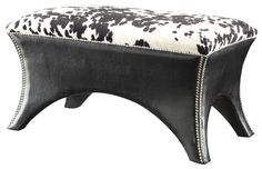 cow print accent chair | Home / Bench with Cow Print, Faux Leather, and Nail Head Trim