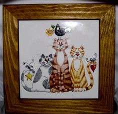 Cats Ceramic Hot-plate by Jean Colbear