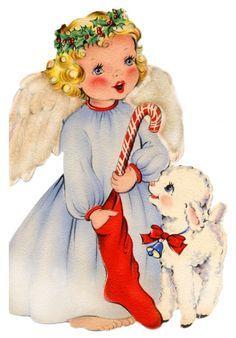 vintage holiday card ~ angel and sweet lamb Images Vintage, Vintage Christmas Images, Old Fashioned Christmas, Christmas Past, Retro Christmas, Vintage Holiday, Christmas Angels, Christmas Pictures, Christmas Greetings