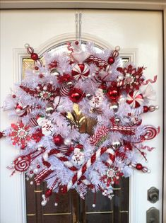 Awesome handmade red and white wreath for kids party.