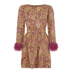 1960s Jean Varon Pink Dress With Fur Cuffs   From a collection of rare vintage evening dresses at https://www.1stdibs.com/fashion/clothing/evening-dresses/
