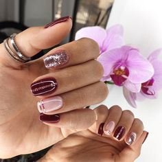 Plum Nails, Rose Gold Nails, Sparkle Nails, Trendy Nails, Cute Nails, Gel Nail Art Designs, Dream Nails, Manicure And Pedicure, Christmas Nails