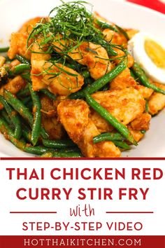 """Pad Prik King"" is a quick and easy way to enjoy the bold flavours of Thai cuisine. Use red curry paste and long beans for authentic flavours, but feel free to change things up! #thairecipe #chickenstirfry Easy Asian Recipes, Thai Recipes, Seafood Recipes, Healthy Recipes, Healthy Meals, Healthy Food, Healthy Family Dinners, Easy Meals, Asia"