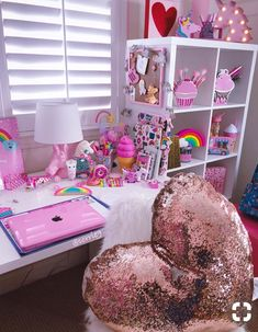 New Room Decor Pink Blue Girls Bedroom Ideas Unicorn Rooms, Unicorn Bedroom, Unicorn Room Decor, Dream Rooms, Dream Bedroom, Bedroom Desk, Bedroom Furniture, Bedroom Ceiling, Furniture Plans