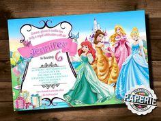 DISNEY PRINCESS BIRTHDAY Invitation por PinkFrostingPaperie en Etsy