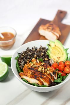 Pineapple-Sriracha Chicken Salad Bowls with Wild Rice