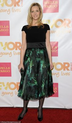 Beaming beauty: Lisa Kudrow looked beautiful wearing a smile and a black-and-green dress at the TrevorLIVE LA event on Sunday