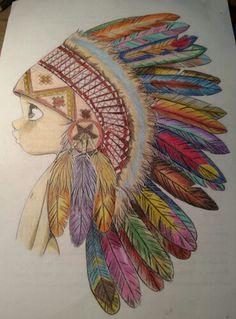 Menino índio colorido com lápis de cor Maped e Faber Castel.