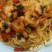Spaghetti met garnalen en tomaat