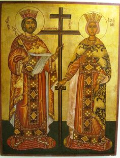 "Agiography, ""Saint Konstantinos and Eleni"" by Konstantinos Kountouris.  Style:egg-tempera and covered with leaves of gold  Size:70x50"