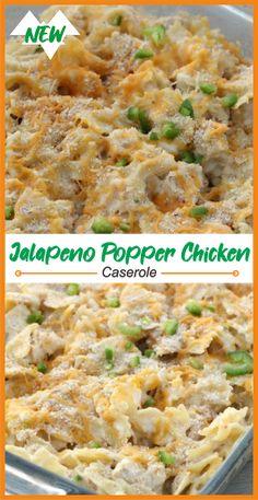 Jalapeño popper chicken casserole - I'm a foodie! Jalepeno Popper Chicken, Jalapeno Poppers, Casserole Dishes, Casserole Recipes, Noodle Casserole, Dinner Entrees, Dinner Recipes, Chicken Parmesan Casserole, Pasta