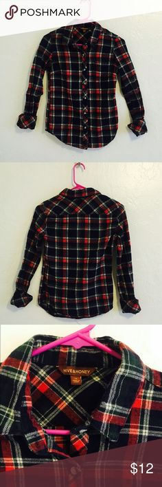 Urban Outfitters Hive & Honey Plaid Flannel Urban Outfitters Hive & Honey Plaid Flannel in size xs. Measures 16 inches from underarm to underarm and 24 inches long. Perfect condition. Urban Outfitters Tops