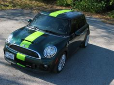 Mini Cooper Solid  green Racing Rally Stripes