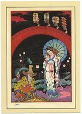"PC11 NEW repro POSTCARD ART CARD STUNNING Art Deco lady & man named ""CHINA"""