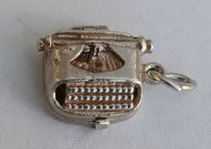 Nuvo Opening Typewriter Charm, Sterling Silver Vintage Bracelet Charm. Office, Author, Writer Gift by LittleVintageCharmCo on Etsy