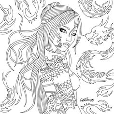 Tattoo Lady - Adult Coloring Page