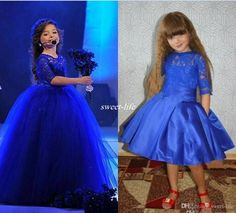 New Design 2016 Royal Blue Flower Girl Dresses Tutu Detachable Train Lace Half Sleeve Arabic Baby Party Girls Pageant First Communion Dress Online with $67.27/Piece on Sweet-life's Store | DHgate.com