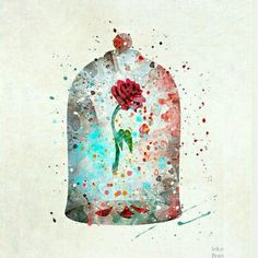 Watercolor disney - cursed rose print beauty and the beast enchanted rose watercolor art disney poster baby wall decor the enchanted rose fathers day Art Disney, Disney Kunst, Disney Home, Disney Pixar, Disney Mickey, Disney Villains, Enchanted Rose, Disney Enchanted, Watercolor Disney