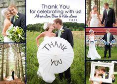 Wedding Thank You Photo Card - Collage - Digital File. $16.00, via Etsy.