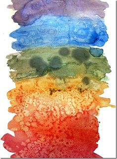 Mixing in a variety of salts and other substances with your watercolors. Interesting results.