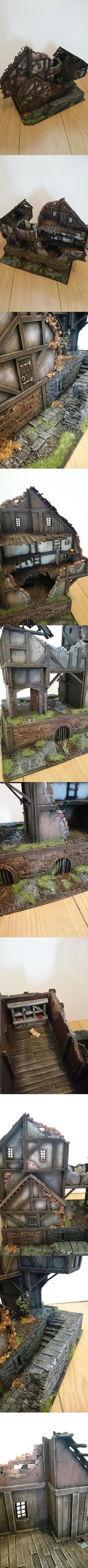 scratchbuilt fantasy ruined house on brick plinth