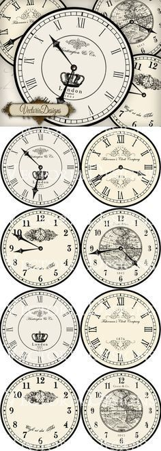 """8 large vintage inspired clock images, each 7.5"""" diameter: 4 different clocks with handles and 4 without handles.  Print on a laser printer and apply to your painted surface with Artisan Enhancements Transfer Gel!"""