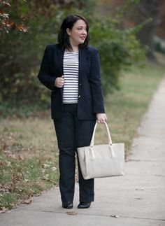Wardrobe Oxygen What I Wore: Navy wool blazer with Breton tee and @officialnydj Hayden Jeans and @DagneDover Mini Tote